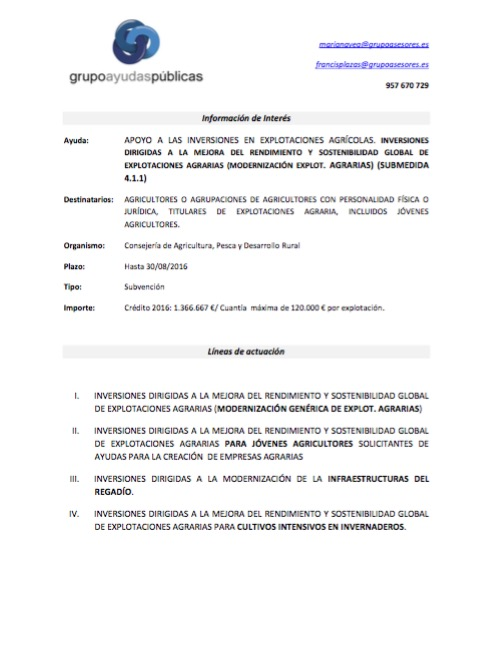 Circular 21: subvenciones para inversiones en explotaciones agrícolas (NO olivar)