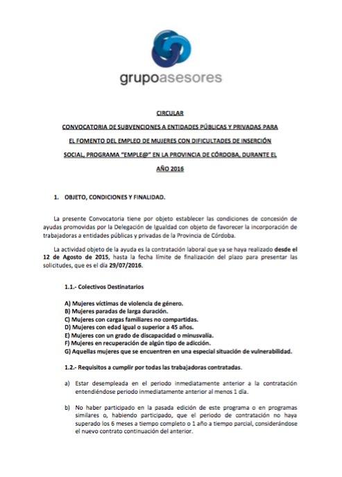Circular 23: subvenciones fomento del empleo de mujeres con dificultades de inserción social