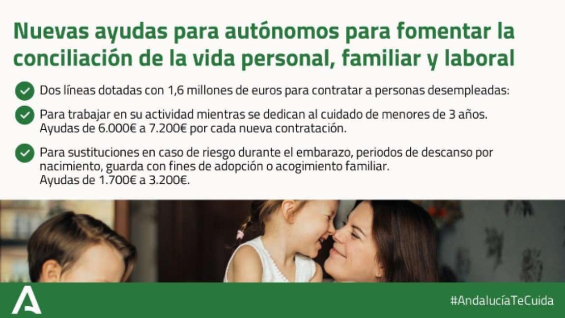 Circular 36 – NUEVAS AYUDAS A LA CONCILIACIÓN DE LA VIDA PERSONAL,  FAMILIAR Y LABORAL DE LAS PERSONAS TRABAJADORAS  AUTÓNOMAS DE ANDALUCÍA